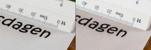 Sammenligning af tekst printet på sukkerpapir af typerne de luxe (venstre) og wafer (højre)