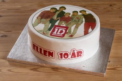 Fødselsdagskage med 1D sukkerprint