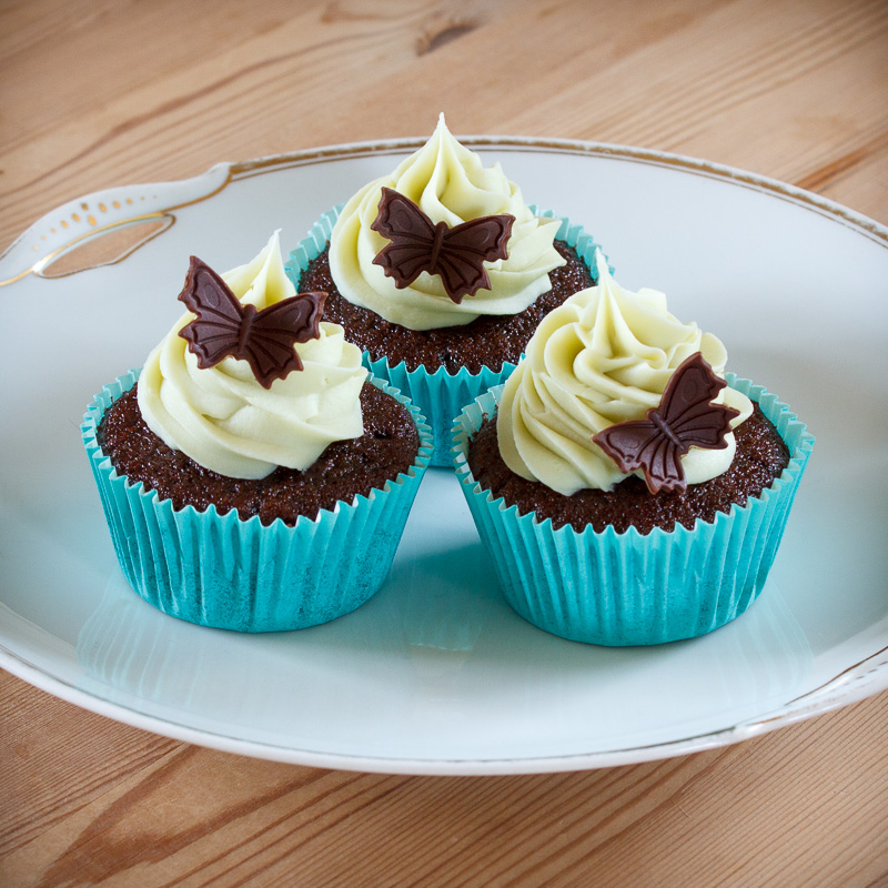 Cupcakes med mint ganache topping