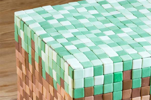Nærbillede af Minecraft kage